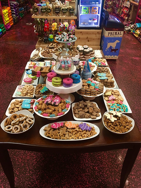 Woof Gang Bakery & Grooming Las Vegas treat table inside store