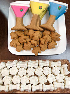 Martini glass and paw shaped dog treats